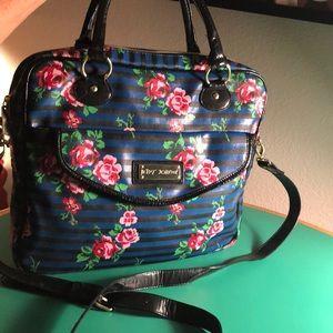Betsey Johnson Flowered Blue & Black Laptop Bag